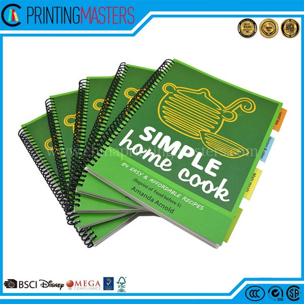 High Quality Spiral Binding Offset Print Cooking Book