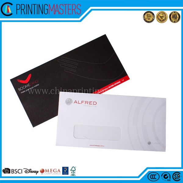 Seal And Peel High Quality DL Black Envelope Printing China