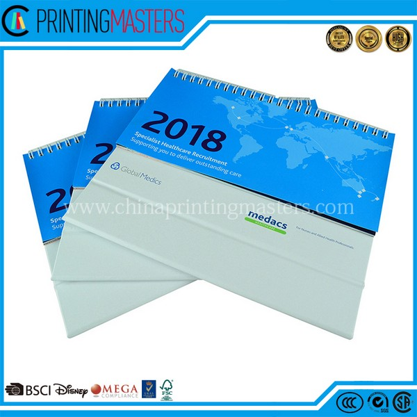 2018 New Design Spiral Binding Desk Calendar Printing China